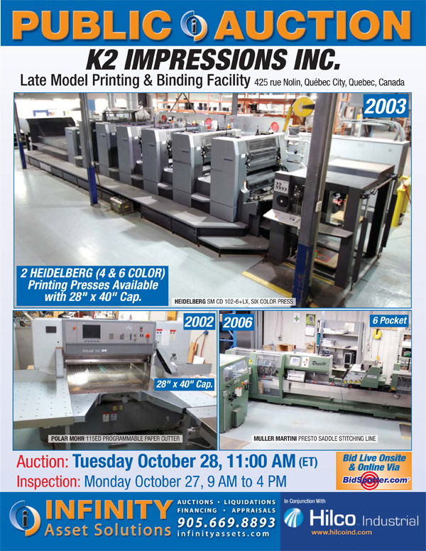 Public Auction of K2 Impressions, Late Model Printing & Binding Facility, Starting Tomorrow at 11 AM